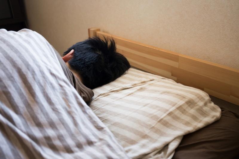 ベッドで寝る高校生